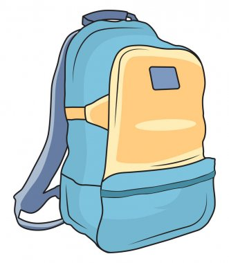 Blue backpack, illustration, vector on a white background. icon