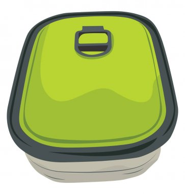 Green small box, illustration, vector on a white background. icon