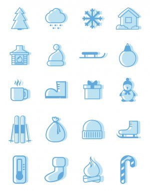 Winter pack, illustration, vector on white background. icon