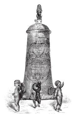 Fontaine Pewter beer, seventeenth century, vintage engraving.
