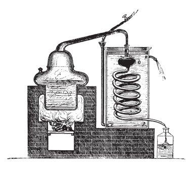 Distilling Apparatus, vintage engraved illustration stock vector