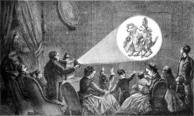 A magic lantern representation, vintage engraving.