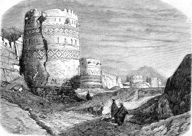Walls of Tauris, vintage engraving.
