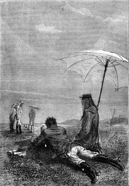 Lying on the ground, vintage engraving.