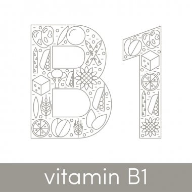 Letter B and number 1 symbolizing vitamin B1