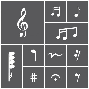 Icon set of musical notes.