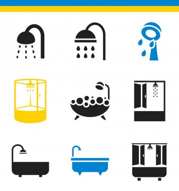 bathroom, shower icons