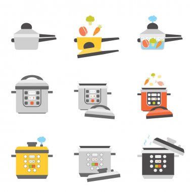 flat icons of pressure cooker