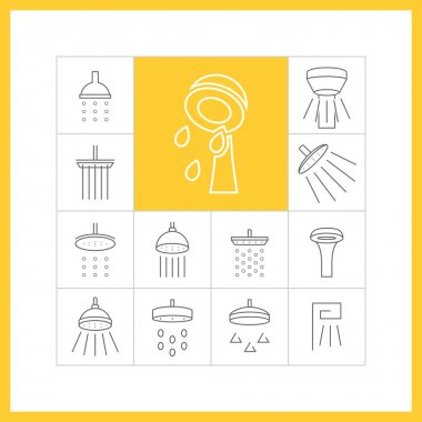 Set of flat icons (bathroom, shower)