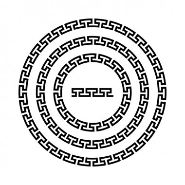 Circle ornament meander. Round frame