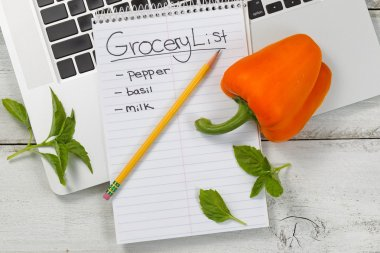 Grocery list for online shopping on desktop