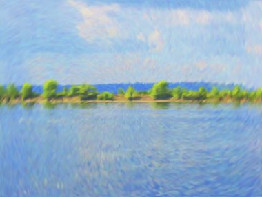 "Картина, постер, плакат, фотообои ""векторное облачное голубое небо картина"", артикул 103943922"
