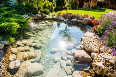 Modern landscape design in the garden stock vector