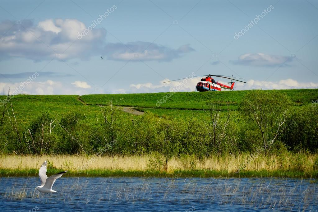red helicopter on green grass