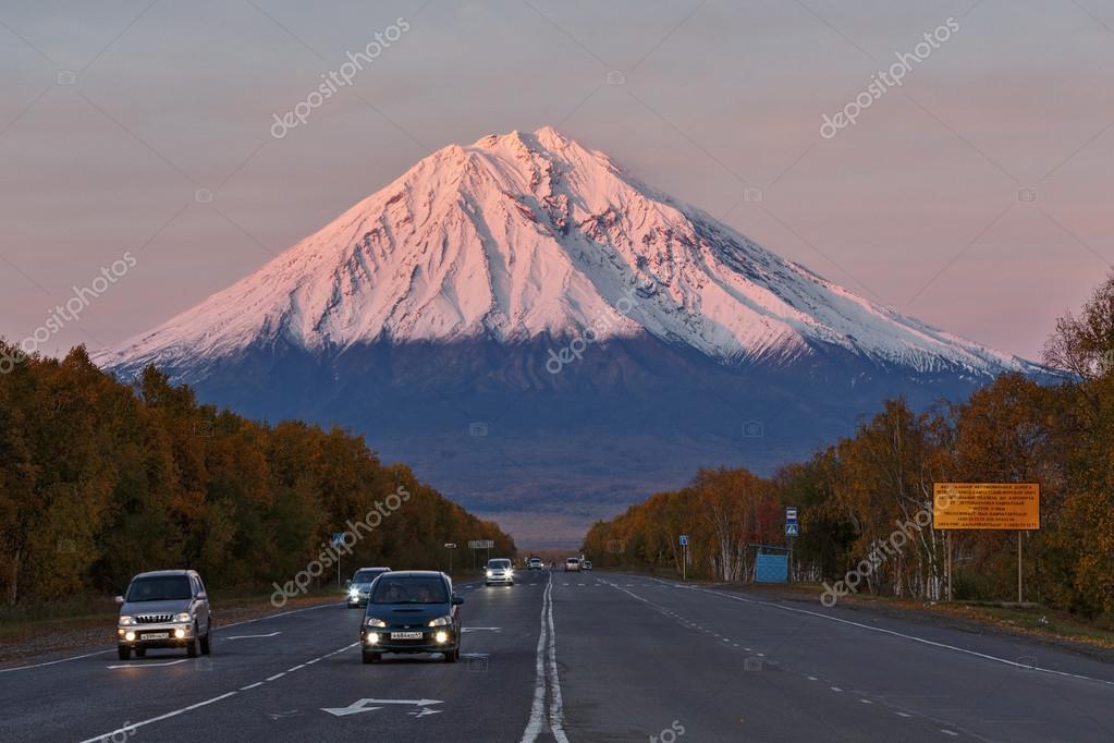 Koryaksky Volcano at sunset, road Petropavlovsk-Kamchatsky City - Elizovo City. Russia, Far east, Kamchatka