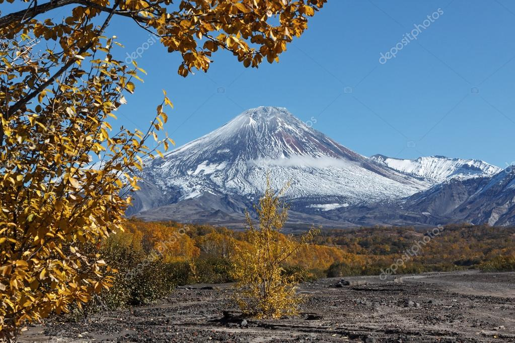 Autumn view of active Avacha Volcano on Kamchatka, Russia