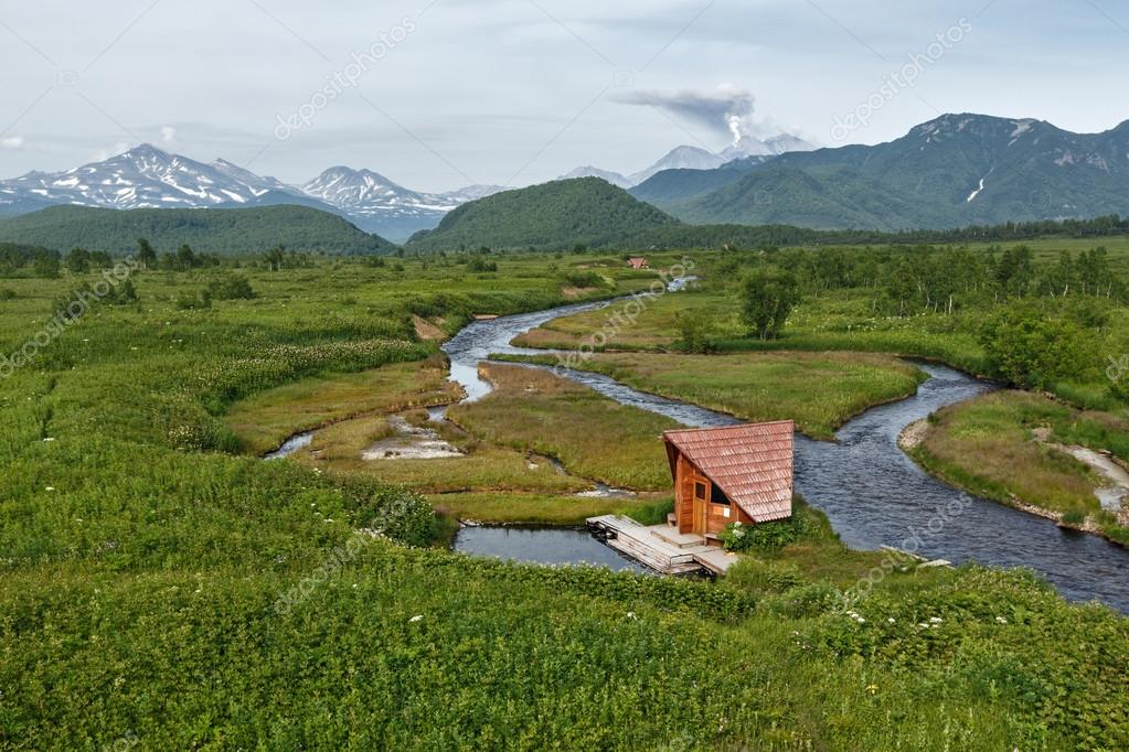Goryacherechensky group hot springs and Goryachaya River. Russia, Far East, Kamchatka, Nalychevo