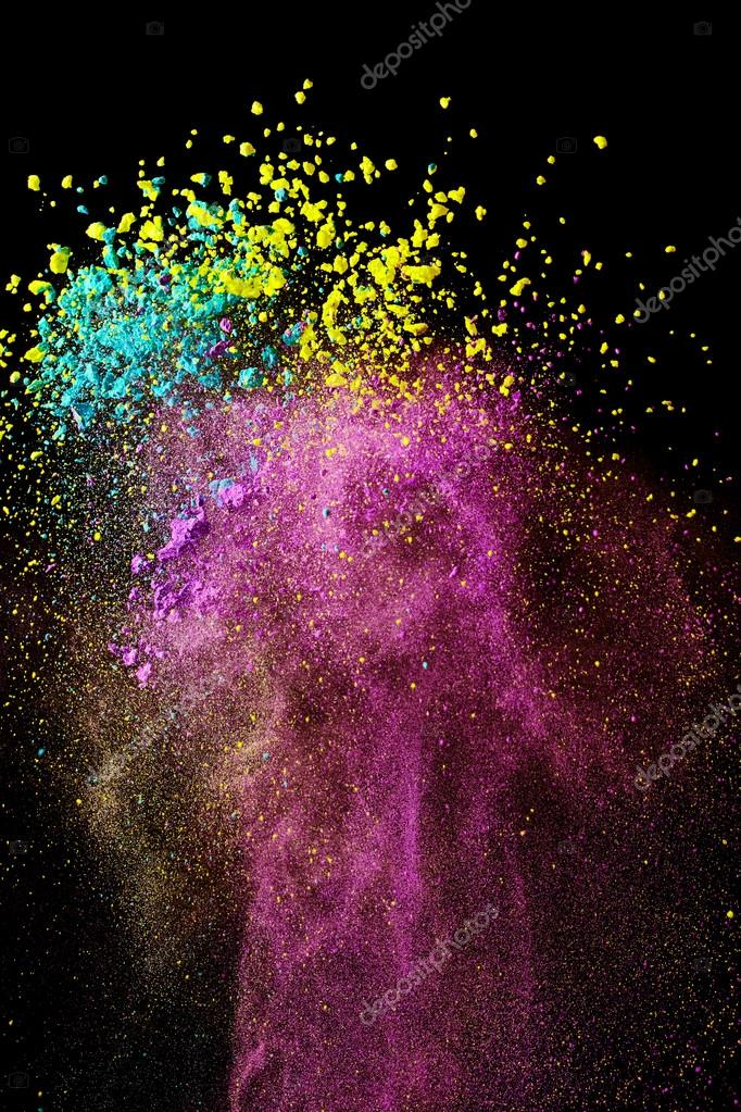 Abstract splashes of bright paint