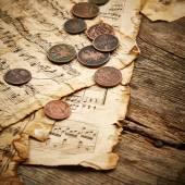 Vintage Zátiší s starými mincemi