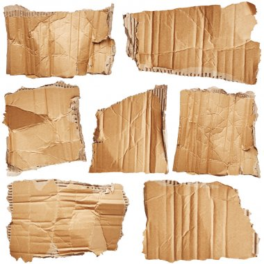 Pieces of cardboard isolated on white background stock vector