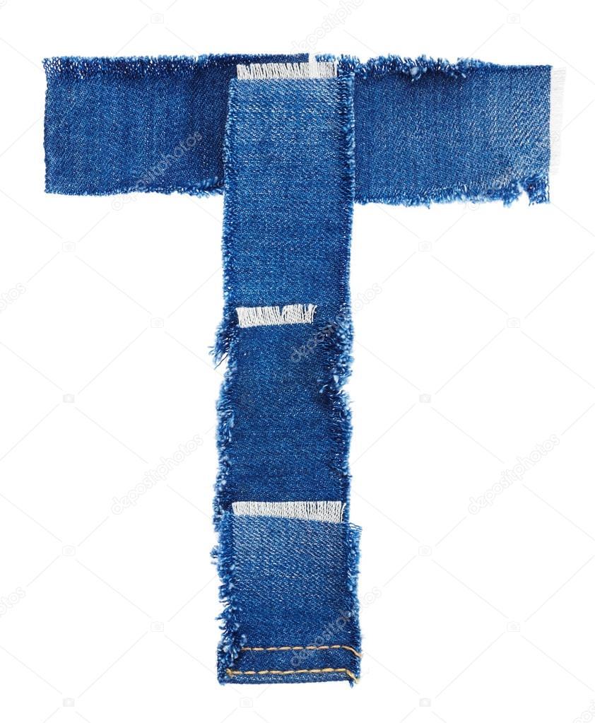 © tessuto da jeans Stock Alfabeto Foto Merkulov Nik T Lettera AP0qqv