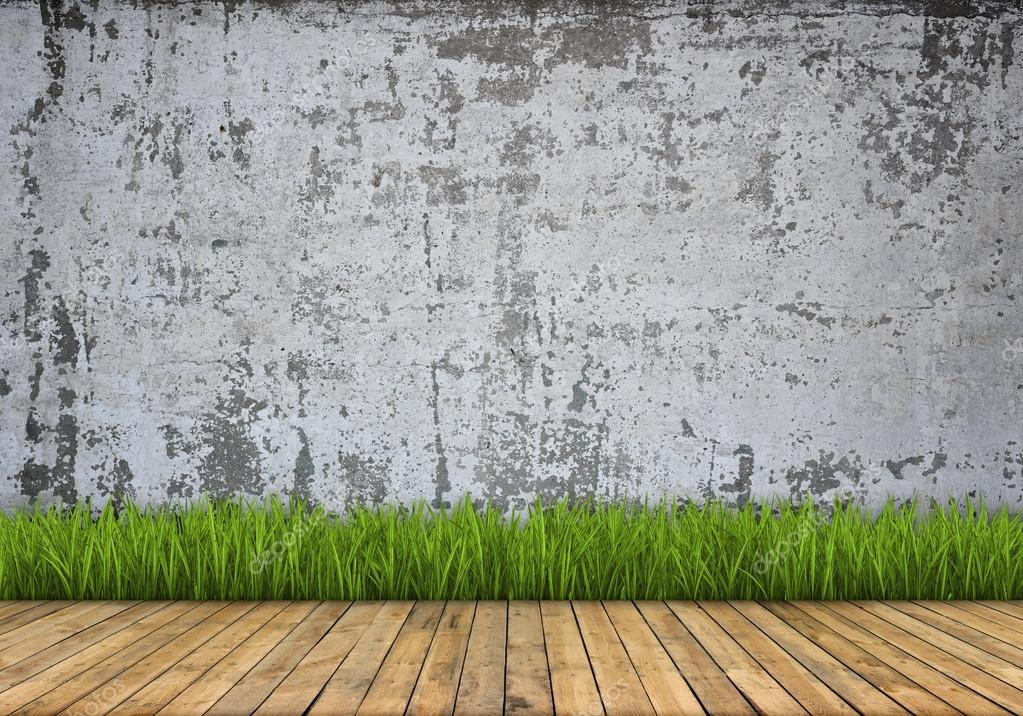 Background. Concrete Wall And Wood Floor With Grass U2014 Stock Photo #60214077