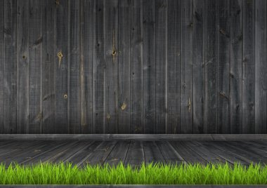 Dark wood wall and floor with grass, background texture