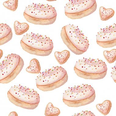 Watercolor sweets seamless pattern, vector illustration clip art vector