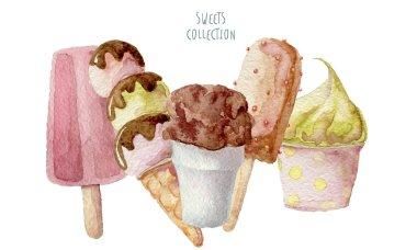 Watercolor ice creams