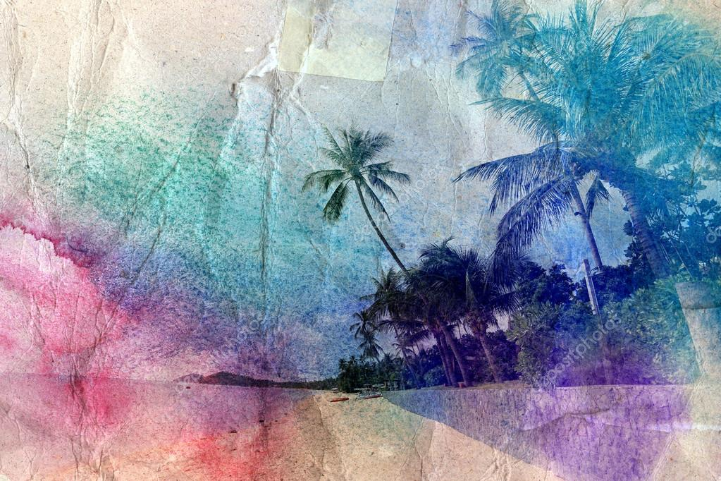watercolor palm trees and sea shore