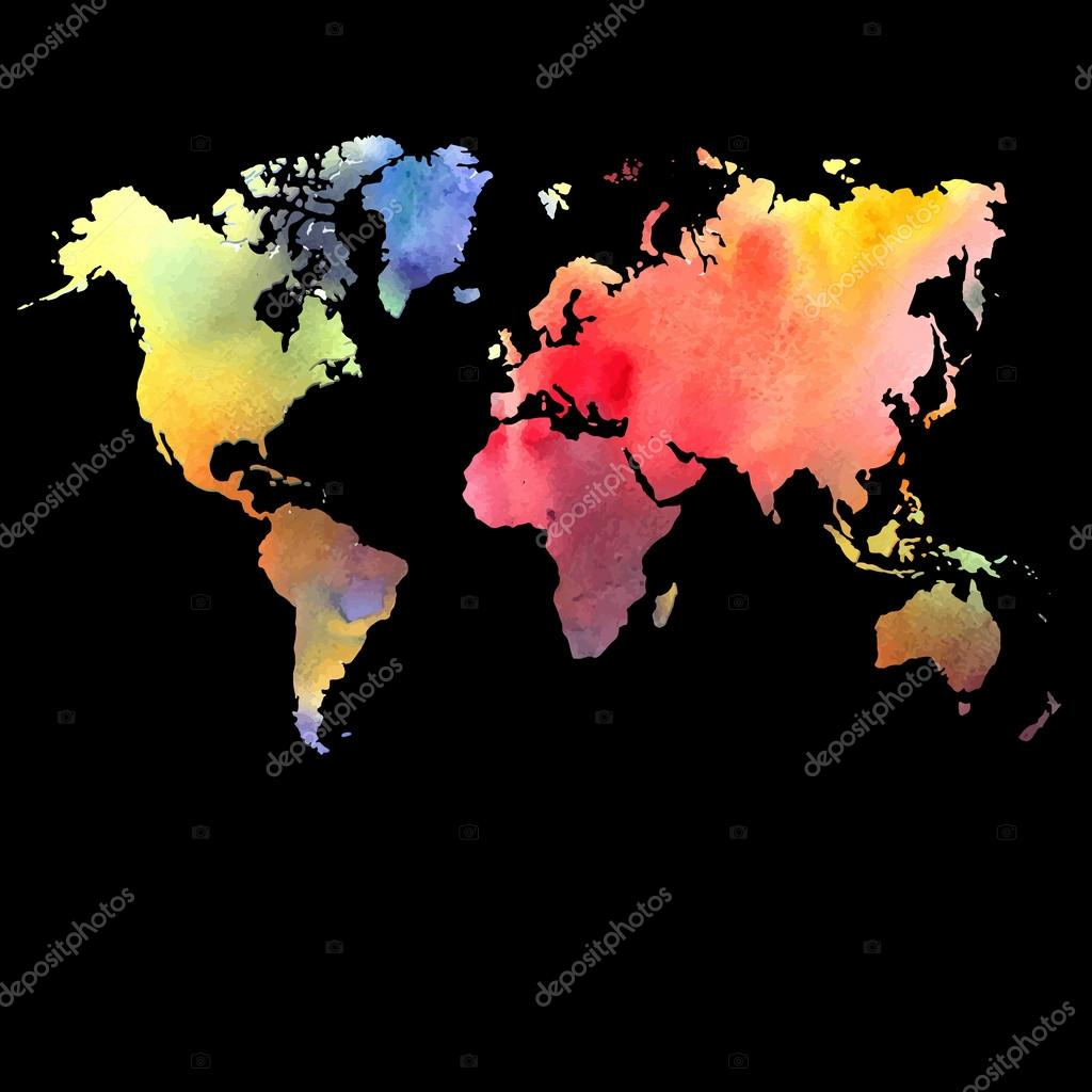 Vector watercolor map on a black background stock vector tanor vector watercolor map web and mobile template corporate design web site atlas world map silhouett vector by tanor gumiabroncs Choice Image