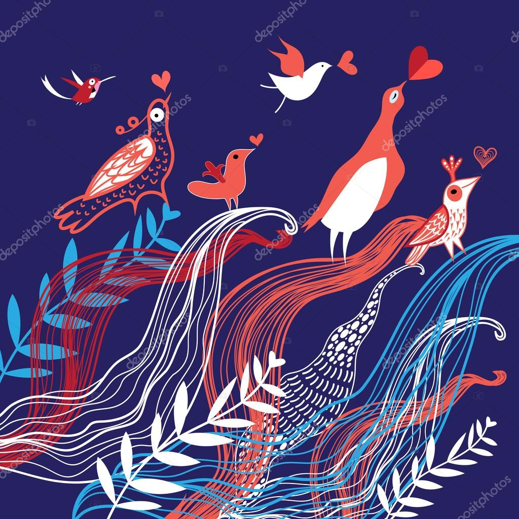 Natural background with birds in love
