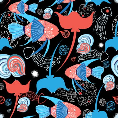 pattern with stingray and fish