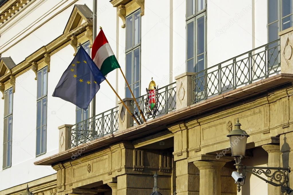 Flag of Hungary and the European Union on the Presidential Palace in Budapest