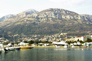 Sea and mountains, seaport in Bar, Montenegro