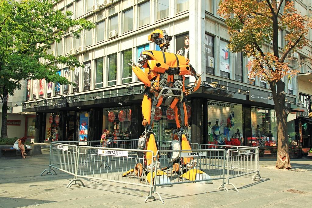 Serbia, Belgrade, August 8, 2015: A talented young artist Danilo Baletic has made several giant sized scrap metal sculptures inspired by Transformers robots