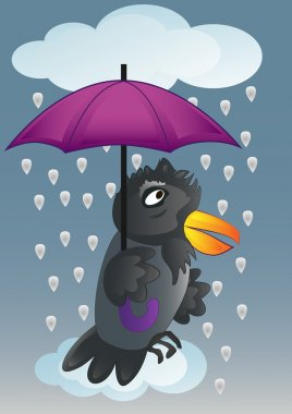 Vector illustration. Rain, umbrella and raven. clip art vector