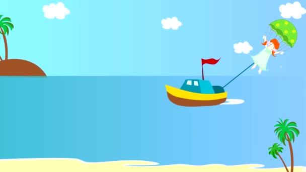 La barca tira la ragazza su un paracadute sopra il mare, animazione, cartoni animati
