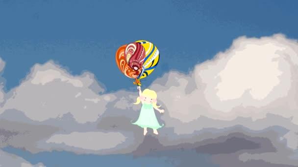 Sladká dívka létat balony v nebi, animace, kreslený