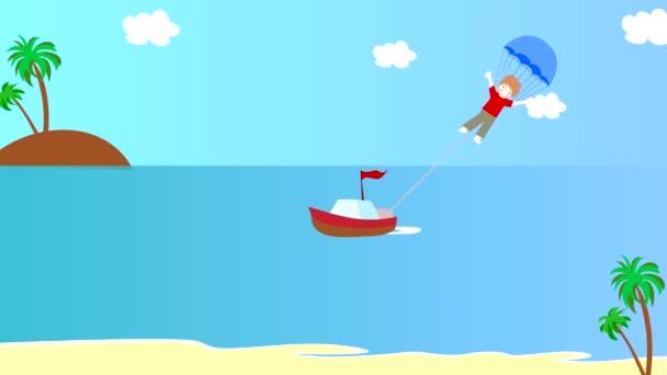 La barca tira il ragazzo su un paracadute sopra il mare, animazione, cartoni animati