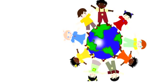 Children of different races spinning on a green planet on a white background, animation, cartoon