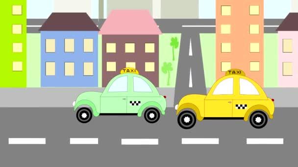 Taxi Autos Paseos Alrededor De La Ciudad Animacion Dibujos