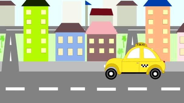 Žluté taxíky jezdí po celém městě, animace, kreslený