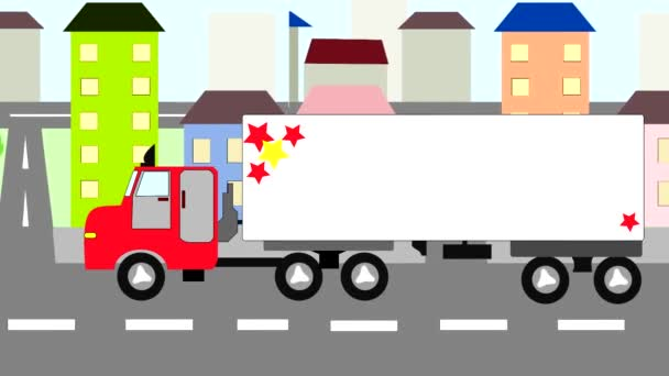 Big truck moving through the city, animation, cartoon