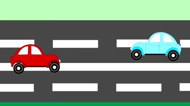 Nehoda, auto nehoda dvou aut na dálnici, animace, kreslený