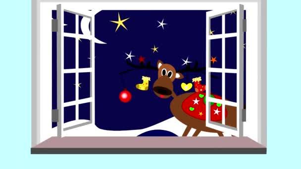 Aranyos karácsonyi rénszarvas nézegette a nyitott ablakon, animációs, rajzfilm