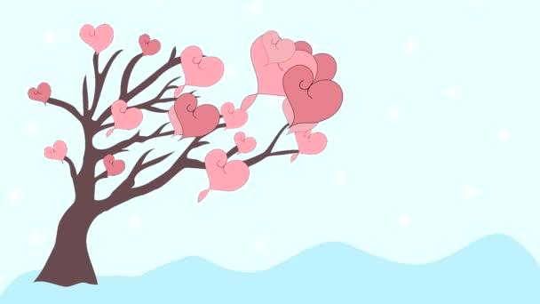 Růžové srdce letět z strom milovat, animace, kreslený