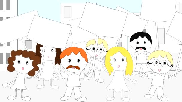 Demonstration, rally people with placards in the city, animation, cartoon