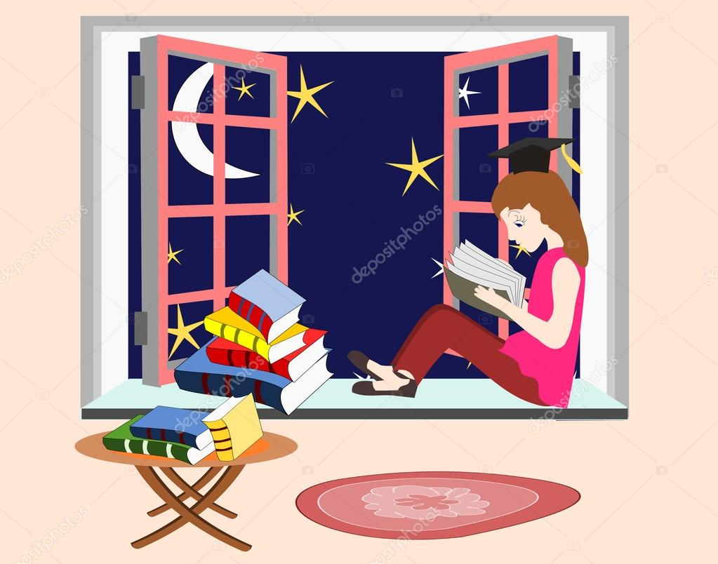 Girl studying at home at night