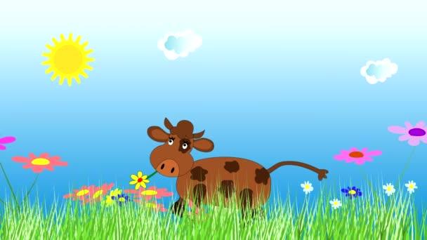 Fröhliche Kuh tanzt und weidet auf einer grünen Wiese